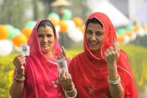 Women at a polling booth, Jaipur (File Photo).