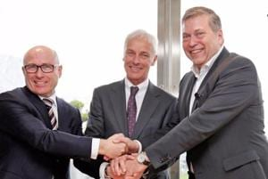 (L-R) Bernhard Maier, CEO of Skoda Auto, Matthias Mueller, CEO of Volkswagen AG and Guenter Butschek, CEO and MD of Tata Motors at the announcement of the partnership on Friday.