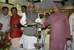Chief minister Nitish Kumar and RJD supremo Lalu Prasad at a function.