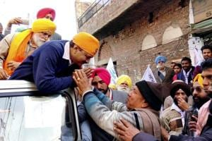 File photo of  Delhi Chief Minister and AAP convener Arvind Kejriwal during an election campaign in Amritsar .