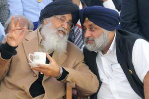 SAD patron  Parkash Singh Badal and his son and party chief Sukhbir Singh Badal.