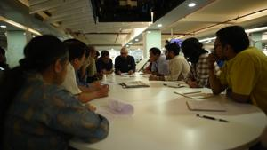 A meeting at the HT newsroom on results day, March 11