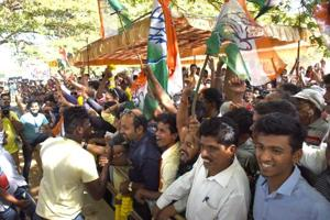 Supporters of various parties outside a  counting center in Panaji on Saturday.