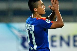 Bengaluru FCcaptain Sunil Chhetri scored in the second half as they beat I-League rivals Mohun Bagan A.C. in the first leg of their AFCCup match in Bengaluru on Tuesday.