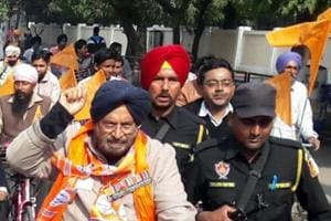 SAD BJP candidate JJ Singh (Retd) campaigns in Patiala, January 23, 2017