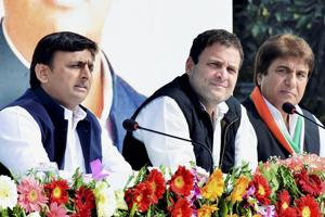 Congress president Rahul Gandhi and party's Uttar Pradesh chief Raj Babbar during a joint press conference in Lucknow on Saturday.