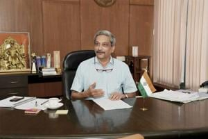 Goa CM Manohar Parrikar assumes charge of his office in Panaji on Wednesday. He won a crucial trust vote in the assembly on Friday.