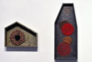 Home Shrine (detail), 2016, by Manisha Parekh, is her interpretation of the sacred as a private space. The art work is part of an ongoing exhibition that reflects on the legacy of the holy cities of Varanasi and Anuradhapura.