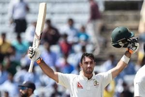 Glenn Maxwell celebrates his century on Day 2 of the third Test between India and Australia.