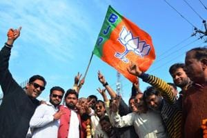 BJP supporters celebrate in Bareilly, UP,  on March, 11, 2017, after the election results were announced.