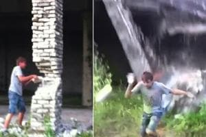 Boy brings down building with bare hands
