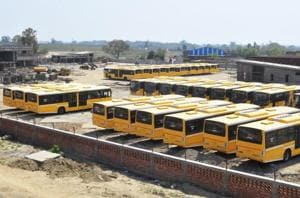 New BRTS buses parked at a depot near Verka Chowk in Amritsar on Friday.