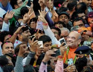 "In the wake of BJP's landslide victory in Uttar Pradesh, party president Amit Shah said there were no ""Hindu or Muslim voters""."