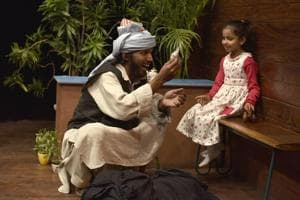 Actors rehearse for the play, The Cabuliwala, before it's staged on March 18, 2017. Rabindranath Tagore's iconic children's story is back on stage in an adaptation directed by veteran theatre artiste Jalabala Vaidya.