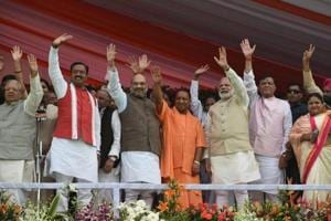 (From left) UP's deputy CM Keshav PrasadMaurya, BJPpresident Amit Shah, UP CM  Yogi Adityanath and Prime Minister Narendra Modi during the swearing-in ceremony in Lucknow.