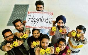 Students of Panjab University mark International Happiness day, Chandigarh, March 19, 2017
