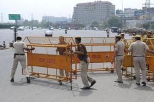 Delhi police blocked the Delhi-Gurgaon Sarhaul border with barricades ahead of the Jat agitation in Gurgaon on Sunday.