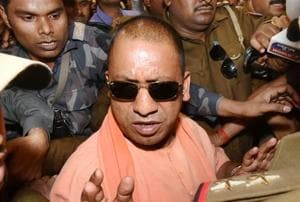Yogi Adityanath arrives to attend BJP