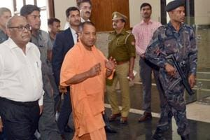 Uttar Pradesh chief minister Yogi Adityanath arriving at the Lok Bahvan for his first meeting after assuming office on Monday, March 20, 2017.