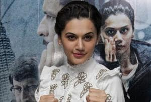 Taapsee Pannu at a promotional event for Naam Shabana.