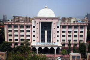 The Maharashtra state board's Mumbai division office, the famous pink-and-white-coloured building, in Vashi.