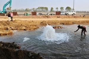 A large quantity of water was wasted after the pipeline broke on Monday.