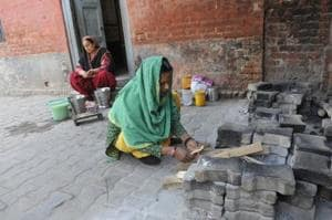 Cooks preparing mid-day meal at Government Primary School at Doraha in Ludhiana on Monday.