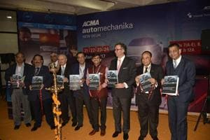Industry leaders unveiling a report titled 'The Indian Automotive Aftermarket Study' by ACMA, at the third edition of ACMA Automechanika New Delhi, on Tuesday.