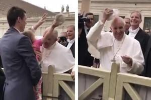 Little girl steals Pope Francis' cap and sends world into tizzy