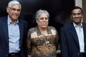 Vinod Rai (L), Diana Edulji (centre), Vikram Limaye (R) and Ramachandra Guha (not in picture) had been appointed by the Supreme Court in the four-member Committee of Administrators earlier this year.