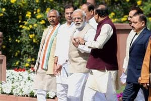 Prime Minister Narendra Modi with other BJP leaders after the party's parliamentary meeting at Parliament in New Delhi.