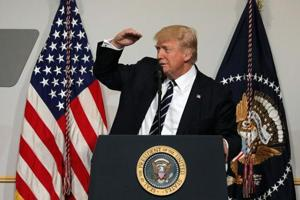 President Donald Trump delivers remarks at the National Republican Congressional Committee March Dinner in Washington, US