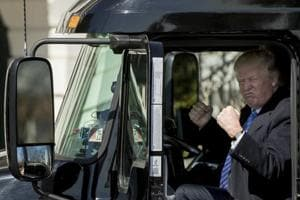 Watch: Donald Trump pretends to drive truck at White House, makes...