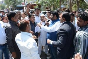 After recent drubbing in UP polls, BSP supporters protest outside...