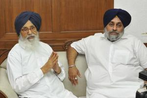 Former Punjab chief minister Parkash Singh Badal and his son Sukhbir Singh Badal  talking to mediapersons after taking oath in the office of the assembly speaker on Monday afternoon.