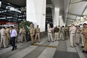 Heavy security at IGI airport on March 24, a day after MP Ravindra Gaikwad