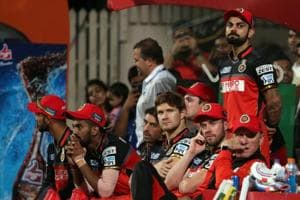Royal Challengers Bangalore captain Virat Kohli looks on in the final over as Sunrisers Hyderabad look to beat Royal Challengers Bangalore during the final of 2016 IPL final at Chinnaswamy Stadium in Bangalore on May 29.