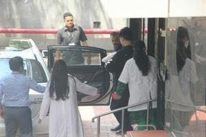 Karan Johar takes his twins, Roohi and Yash, home. See pictures