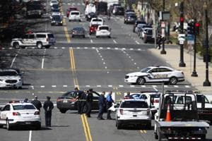 US Capitol police block Independence Avenue near the Botanic Gardens in Washington on Wednesday.