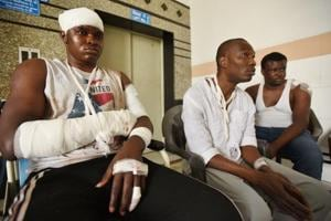 African students who were injured in Monday's violence at a Noida hospital on Tuesday.