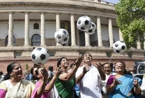 In pics: MPs play football to promote U-17 Fifa World Cup 2017