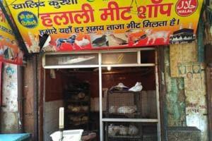 Meat shops open in Jama Masjid area of Sadar Bazaar on Thursday, March 30, 2017.