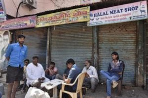 Closed shops at Jacobpura meat market onFriday after members of the Shiv Sena allegedly forced them to down shutters due to Navratras.