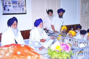 SGPC president Kirpal Singh Badungar (centre) presenting the budget report in the presence of Akal Takht Jathedar Giani Gurbachan Singh (left) in Amritsar on Wednesday.