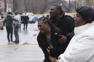 Georgia Jackson, 72, is overcome with emotion upon learning that her two grandsons, Raheem and Dillon Jackson were found fatally shot in the South Shore neighborhood in Chicago on March 30, 2017.