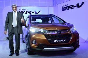 Senior Vice President, Honda Cars India, Sales and Marketing, Jnaneswar Sen at the launch of WR-V during a press conference in Chennai.
