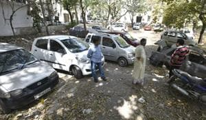 A view DDA flat Anand Vihar park is used for parking cars. Lack of parking space is a major problem in east Delhi.