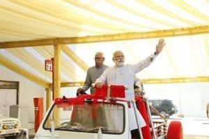 Prime Minister Narendra Modi at the tunnel end of Chenani-Nashri Tunnel in Jammu Kashmir