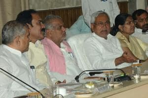 Chief minister Nitish Kumar interacting with people at his Lok Samvad programme, in Patna on Monday.