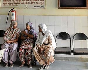 Women waiting for their turn at a primary health centre.